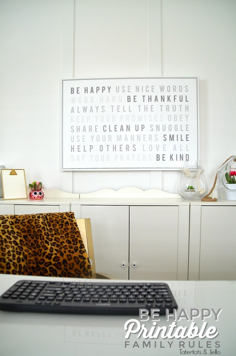 Be Happy Family Rules free printable and instructions on how to create a canvas for your home.