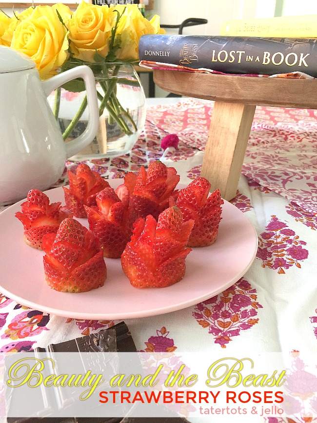 Easy Strawberry Roses are a fun way to garnish desserts for a Beauty and the Beast dinner party.