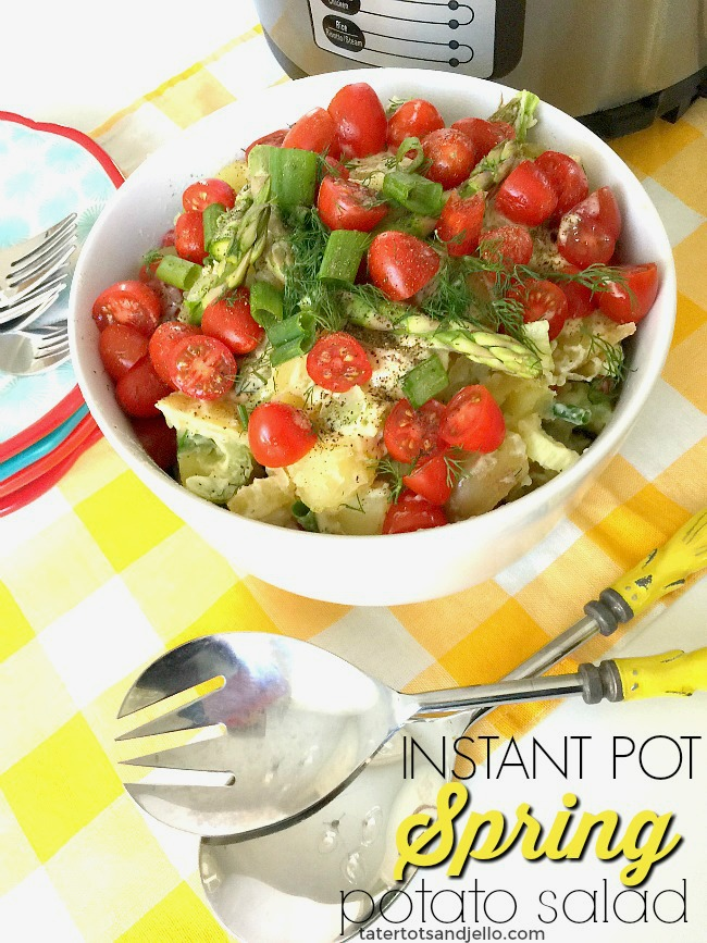 Instant Pot 10-minute Spring Potato Salad. Use your Instant Pot to make a super quick and delicious potato salad. It's perfect for a picnic!