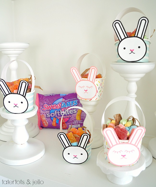 Mini Easter Bunny Baskets. Make affordable bunny Easter baskets filled with chewy Sweetarts treats for friends and neighbors this Spring!