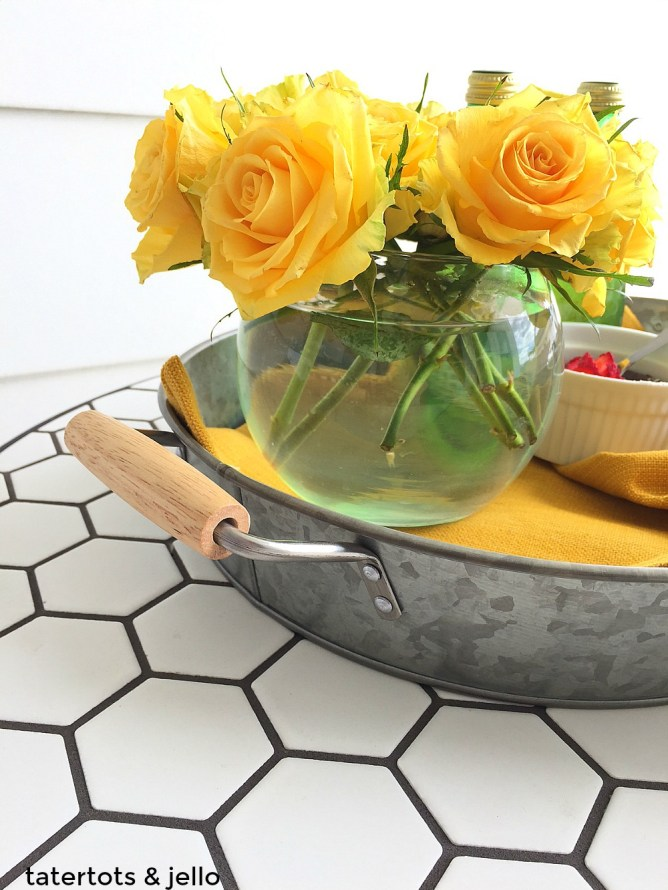 galvanized serving tray for under $10