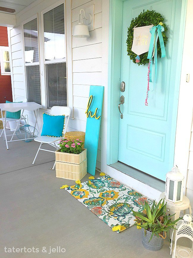 DIY 3-Dimensional Spring Sign. Bright and happy colorful sign for your porch.