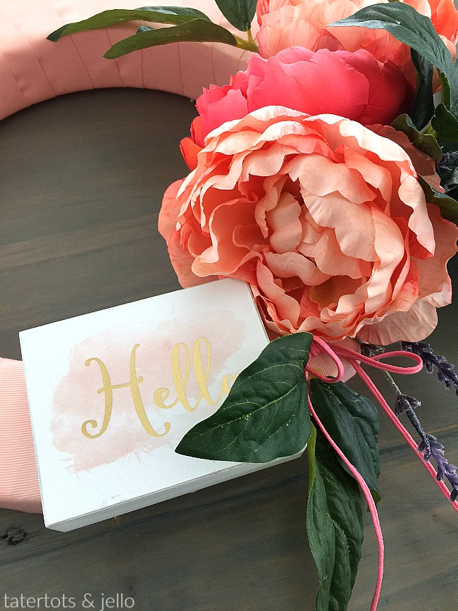 How to make a 10-Minute Peopny Wreath for Summer. Wrap your wreath form with ribbon and add peonies and a little saying for a wreath that you will love!