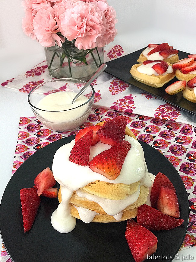 Strawberry Shortcake Cream Cheese Waffles