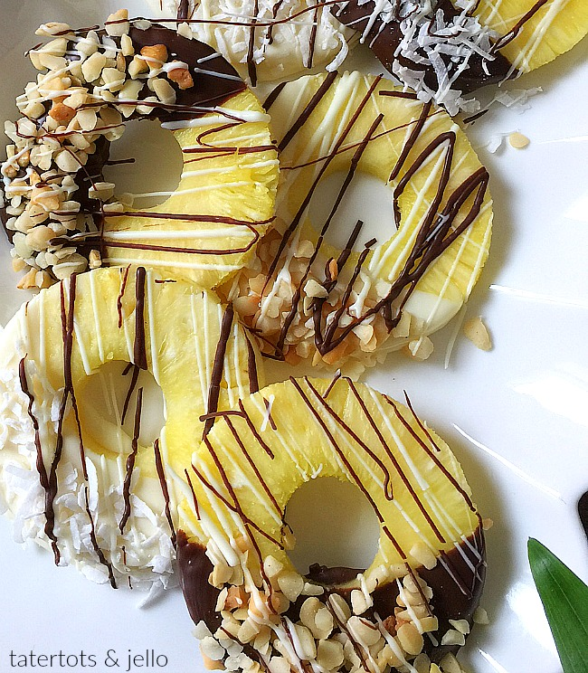 Chocolate Dipped Pineapple Slices are so easy to make and are the perfect dessert this summer!