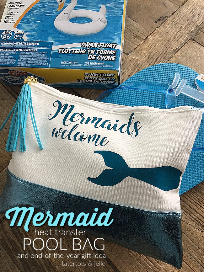 Mermaid Heat Transfer Pool Bag. Make a mermaid pool bag for your teen. Fill it with things she will need for the pool this summer!