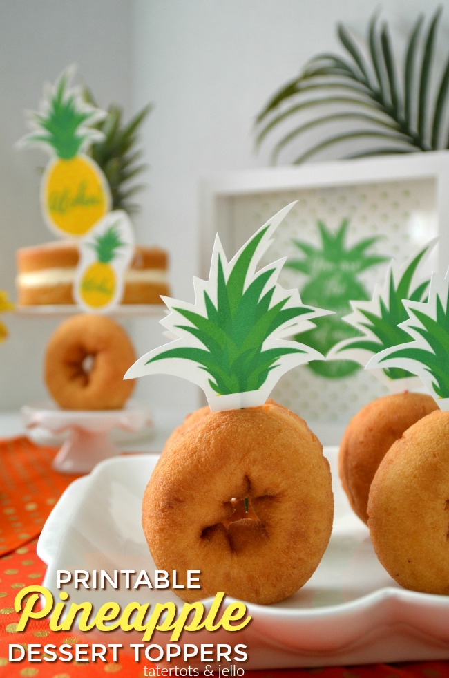 pineapple dessert topper printables