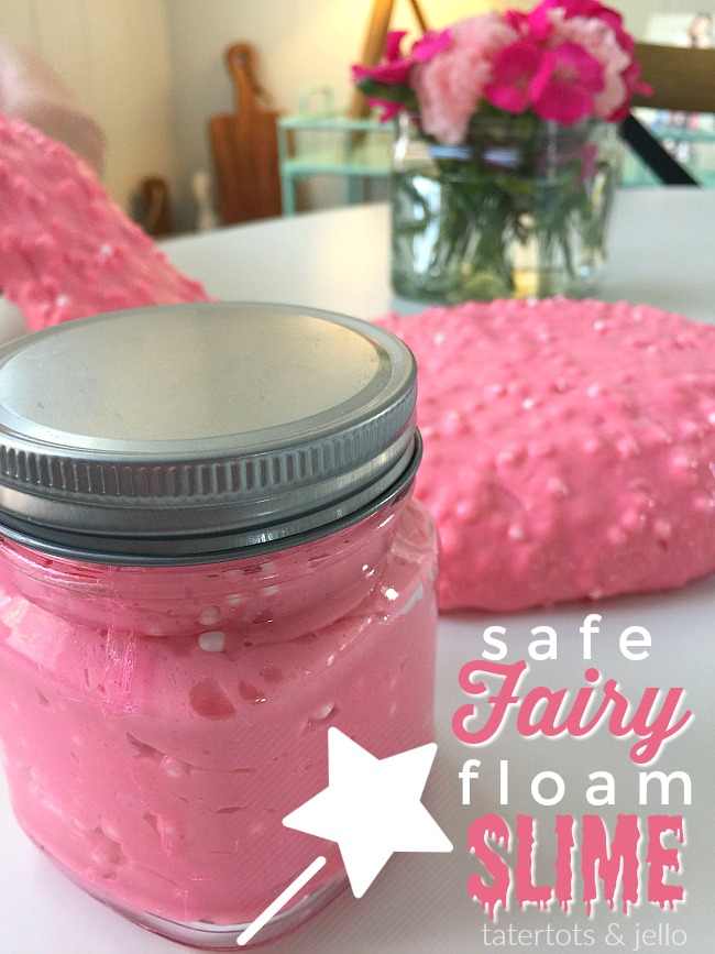 safe fairy floam slime. Make this safe slime with fun mix ins like floam balls, sequins and glitter. Your kids will love making it!