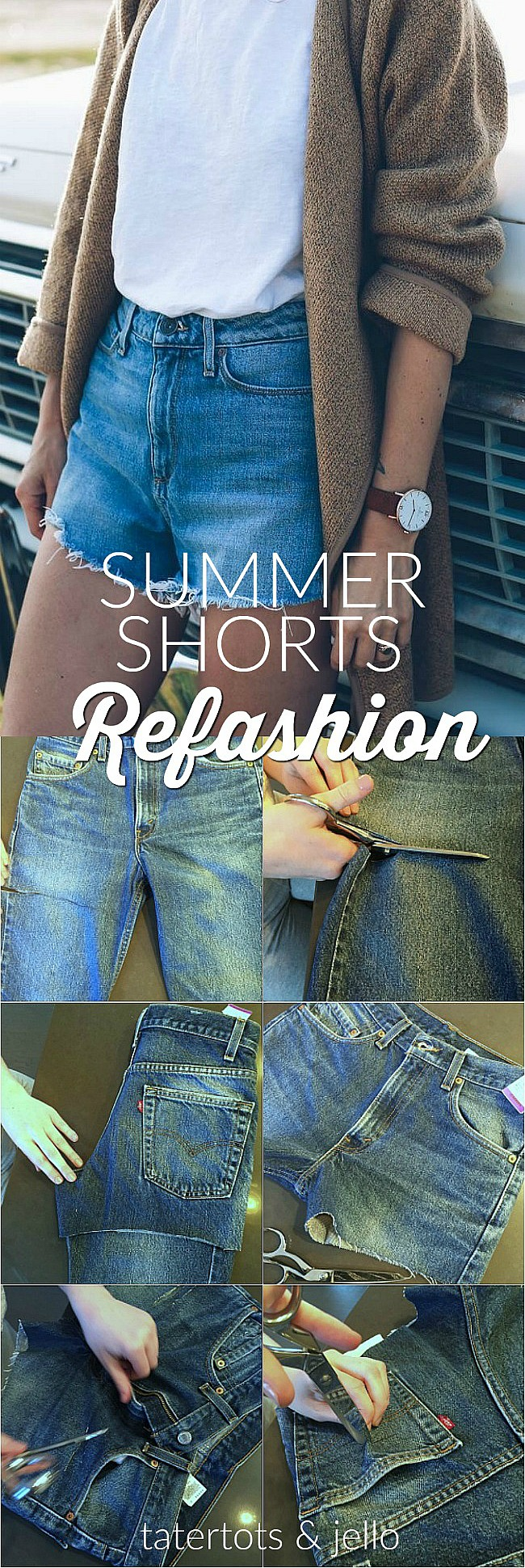 how to make womens high-waisted summer shorts from mens thrifted jeans