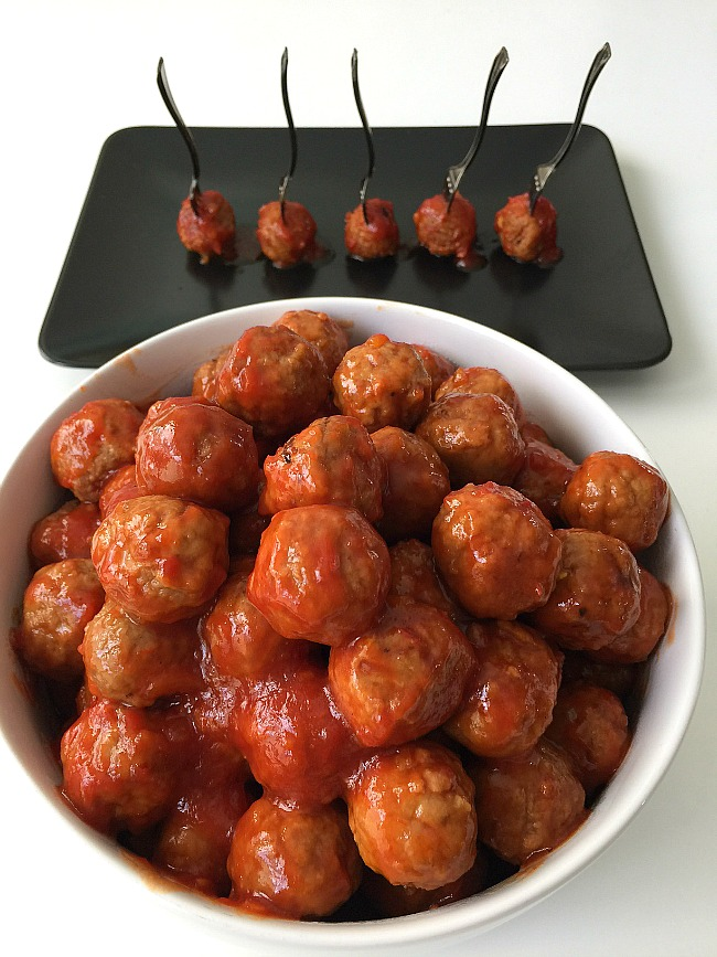 3 ingredient spicy orange glazed meatballs are the perfect easy appetizer to make for parties or summer potlucks!
