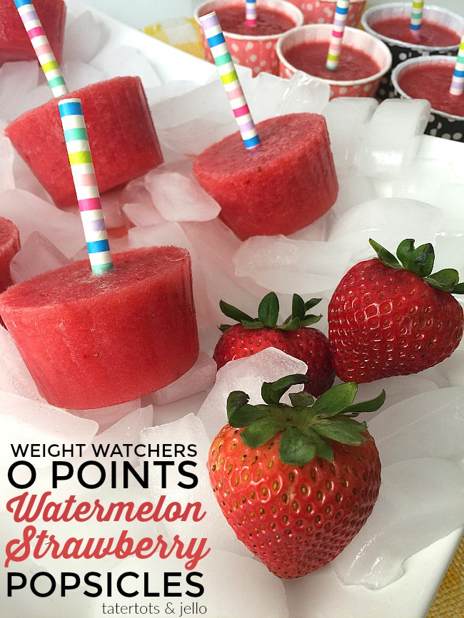 Cool off on a hot summer night or day, with these guilt-free popsicles. Full of fresh watermelon, strawberries and sweetened with honey instead of sugar, these popsicles will hit the spot with kids AND adults and they have ZERO Weight Watchers points.