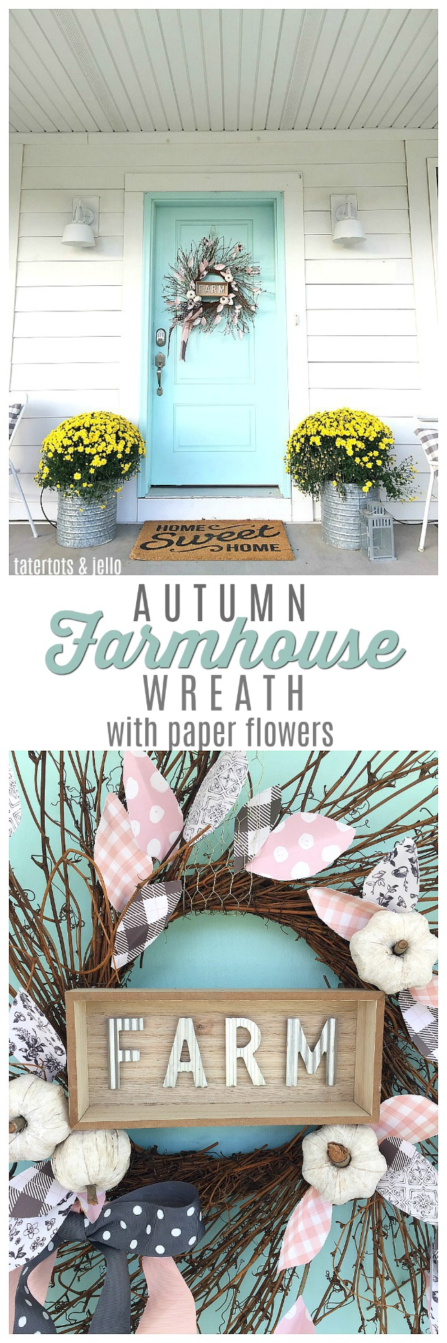Farmhouse Autumn Wreath with paper flowers. Make a neutral farmhouse-style wreath with little pupkins and leaves made out of paper.