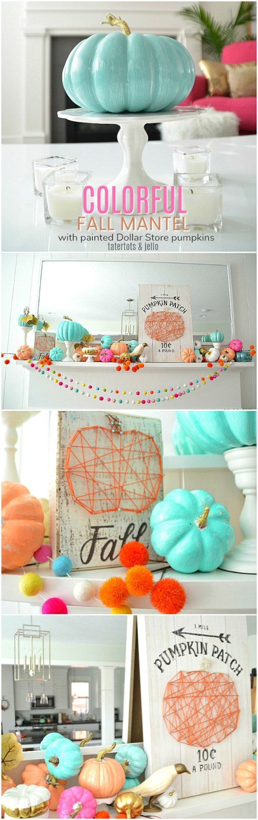 Paint inexpensive dollar tree pumpkins a bright color for a happy fall mantel!