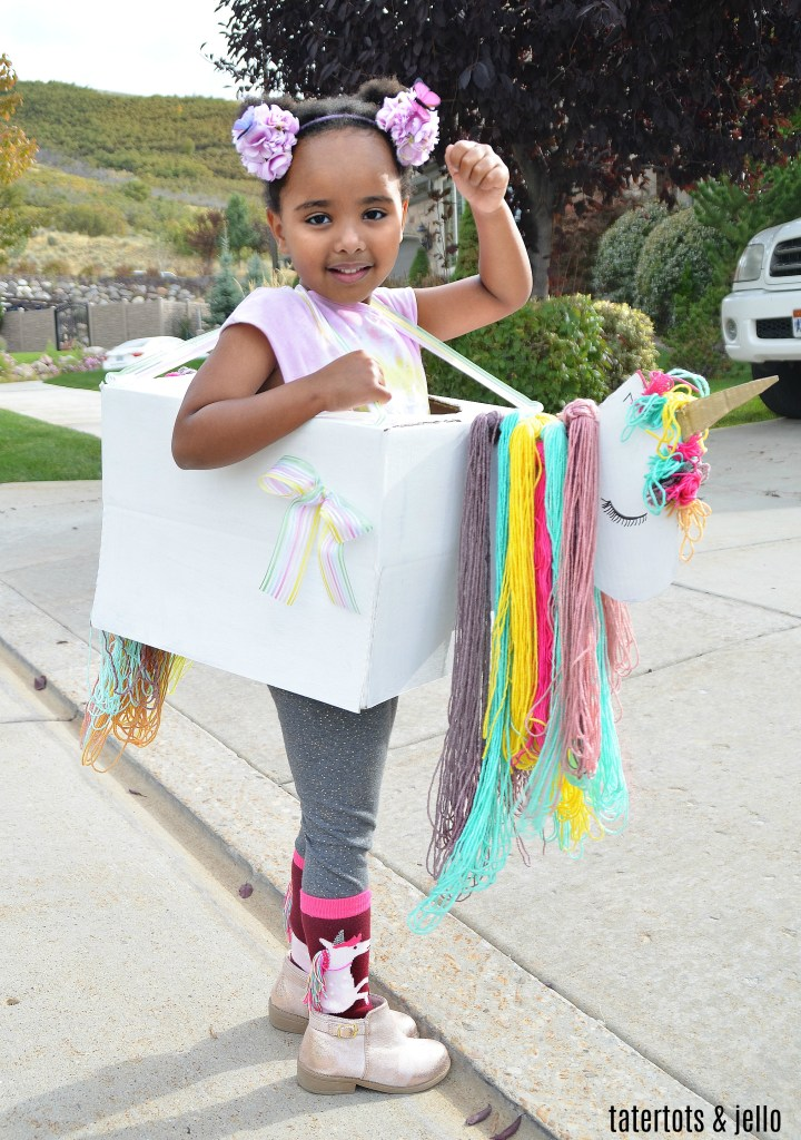 Make a Kids Unicorn Halloween Costume out of an Amazon Box! You can create so many costumes using cardboard boxes. See how to make a kids unicorn costume. It's so easy and fun!