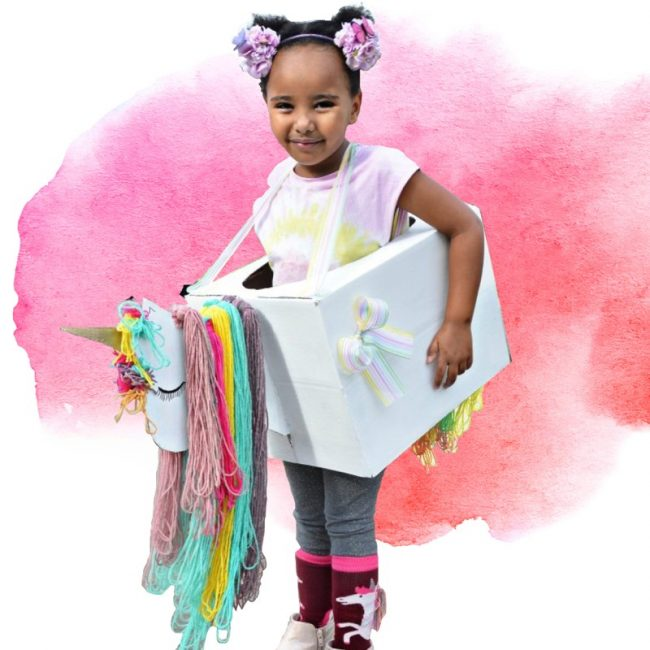 turn a cardboard box into a cute unicorn costume!
