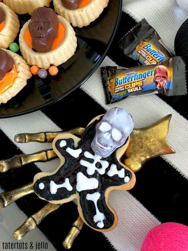 Butterfinger Skeleton Cookies and Cookie Cups. Use a gingerbread man cookie cutter to make the most adorable skeleton cookies.