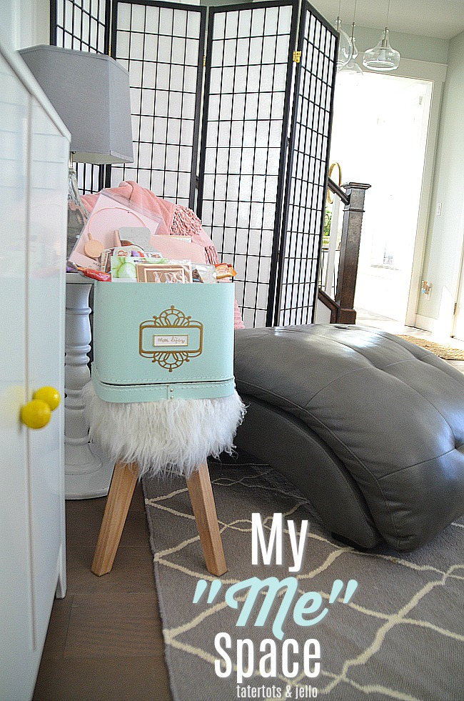 "Me Time Mom Space and basket. Carve out a little space in your home for ""me"" time. Create a basket to keep your ""mom time"" treats!"