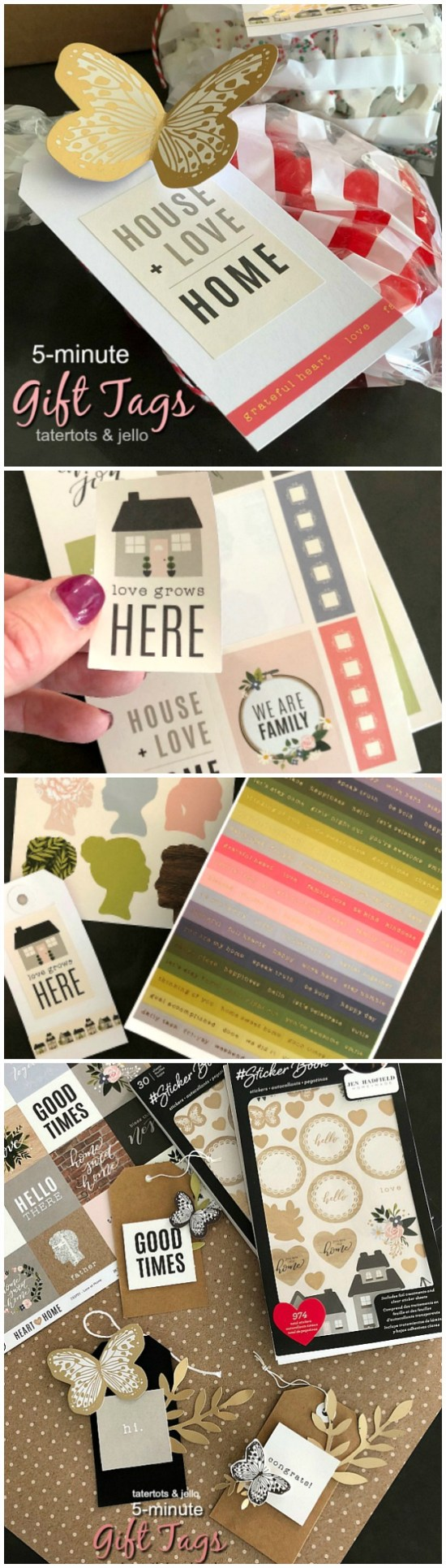 Easy 5-minute gift tags. A sticker book has over 900 stickers and makes it easy to create beautiful tags.