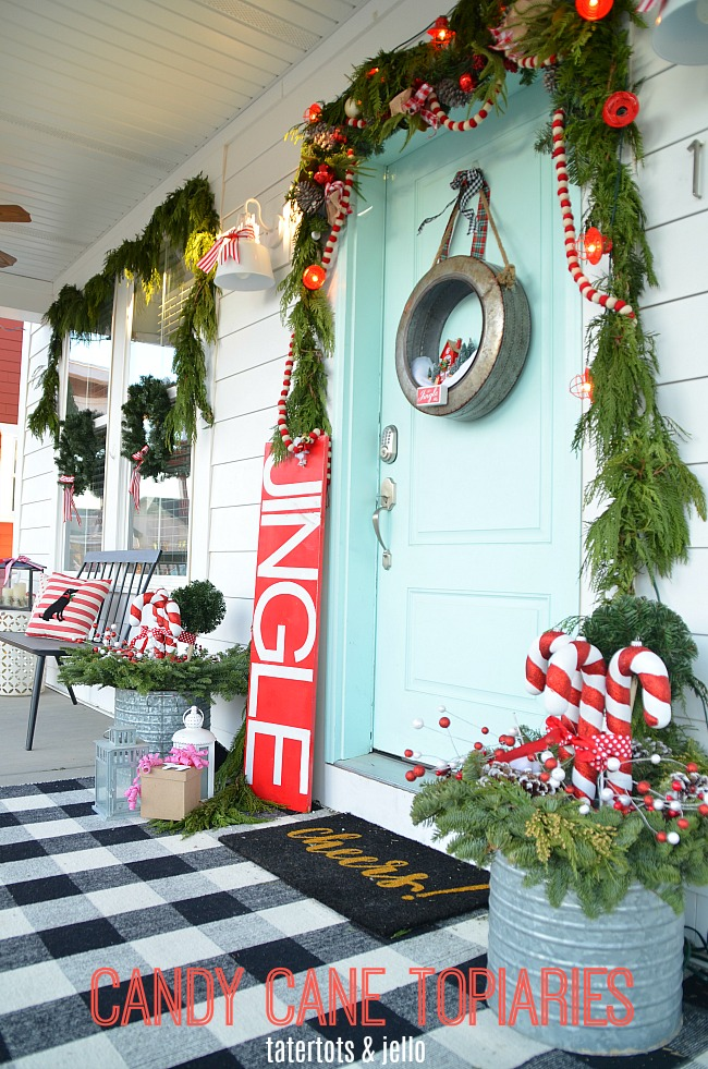 Holiday Home Tour - My Plaid Candy Cane Porch!