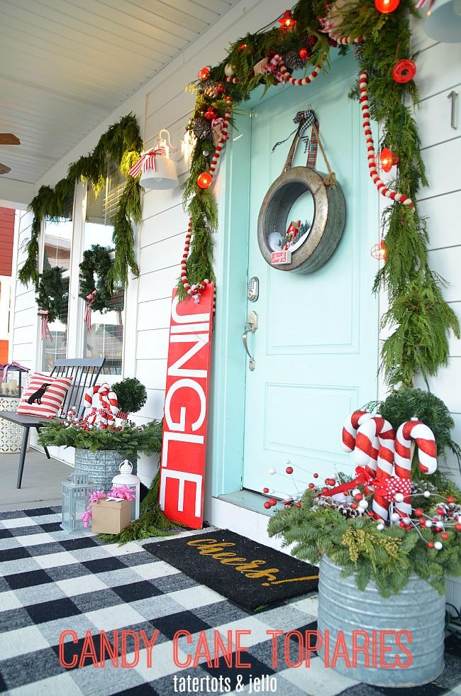 Holiday Home Tour – My Plaid Candy Cane Porch!