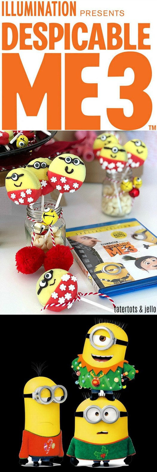 Holiday Minion Cookie Pops - celebrate the Despicable 3 movie with a family movie night and make these adorable Minion holiday cookie pops!
