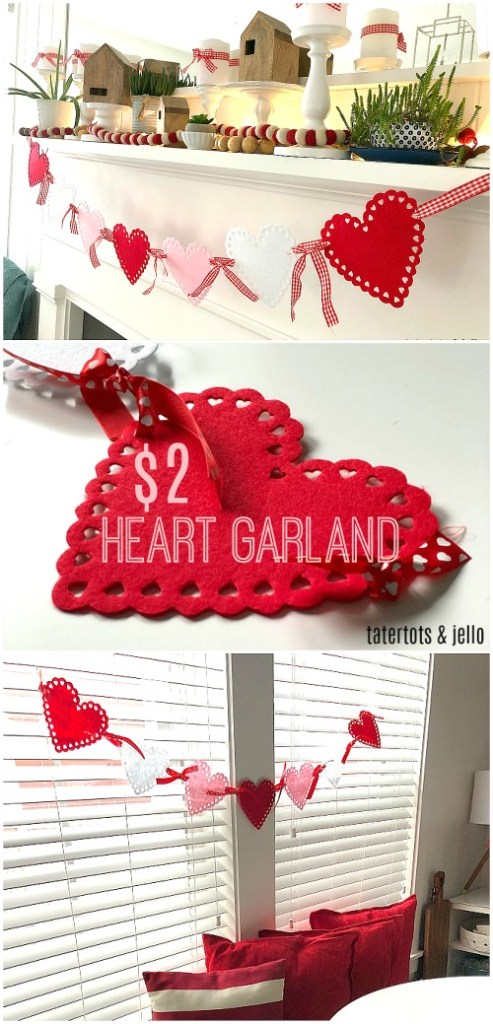 $2 Felt Scallop Heart Garland - a five minute project that's so easy to make for Valentine's Day!