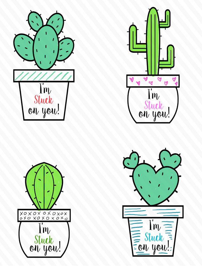 cactus colored valentine printables