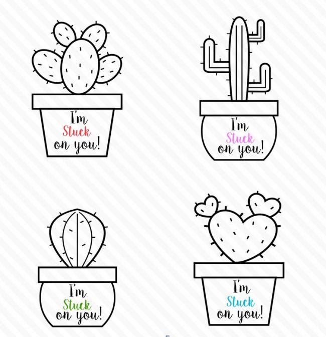 Cactus Valentines day kid coloring printable tags