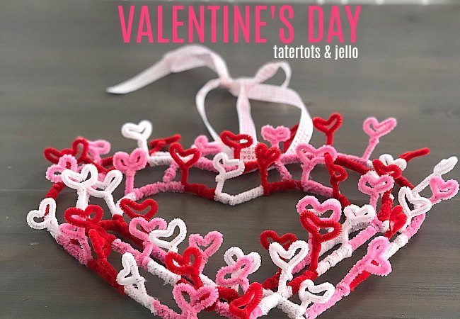 Valentine's Day Heart Pipe Cleaner Wreath – with items from your dollar store!