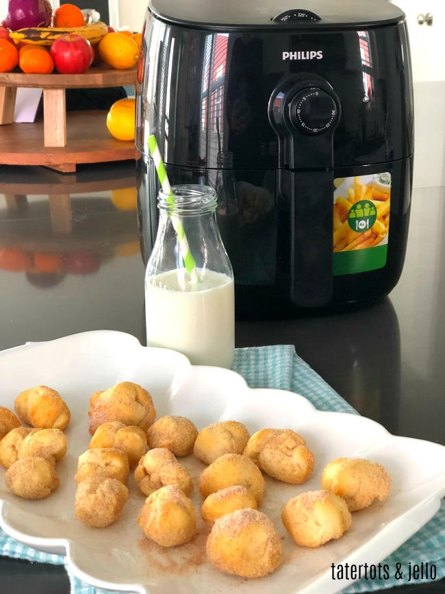 3 Minute Airfry Cinnamon Sugar Donut Holes are so easy to make! You use pre-packaged biscuit dough and they are ready in 3 minutes and much healthier than deep frying!