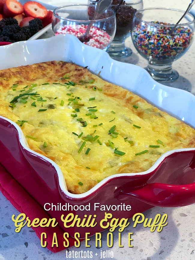 Green Chili Cheese Egg Puff Casserole - it's a chilhood favorite that is the perfect casserole for any occasion. Freeze a few and get them out for gatherings and get-togethers.