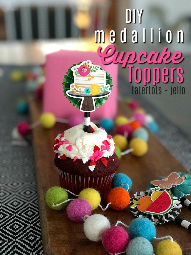 DIY Medallions Cupcake Toppers with Patio Party Paper line