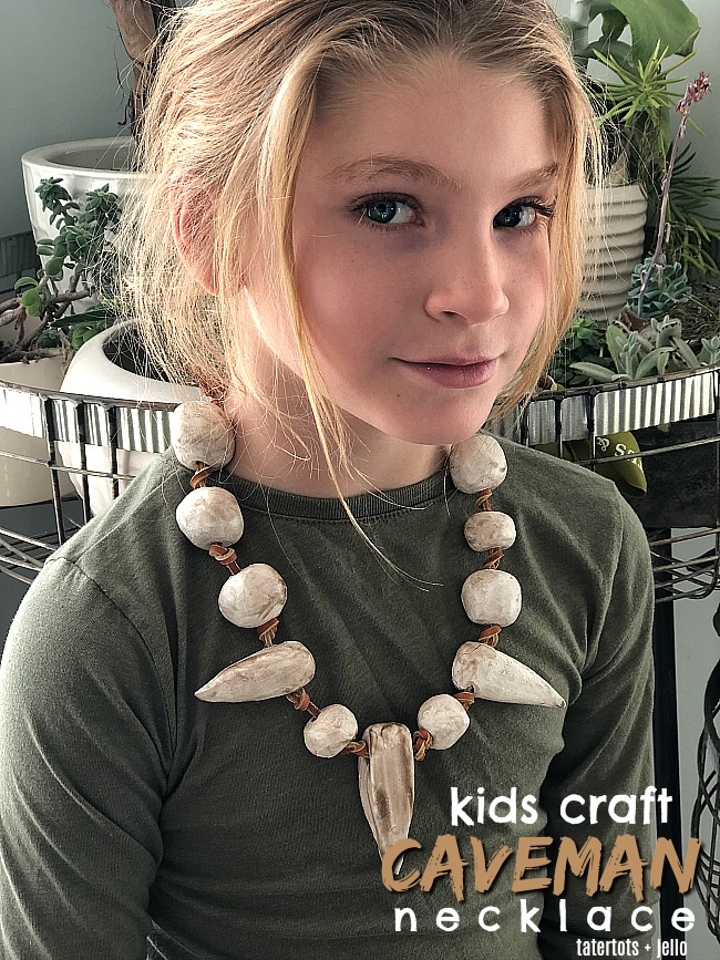 Kids Clay Caveman Necklace - make clay necklaces with your kids. They will love creating whimsical necklaces out of clay!