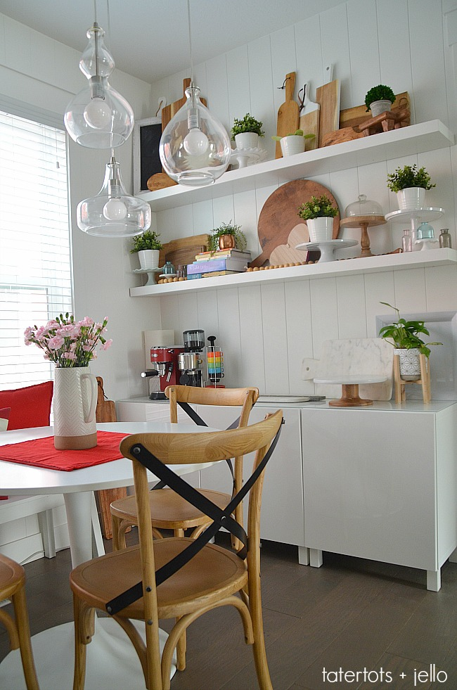 Modern Farmhouse Kitchen Display Wall - make a display wall with kitchen storage!