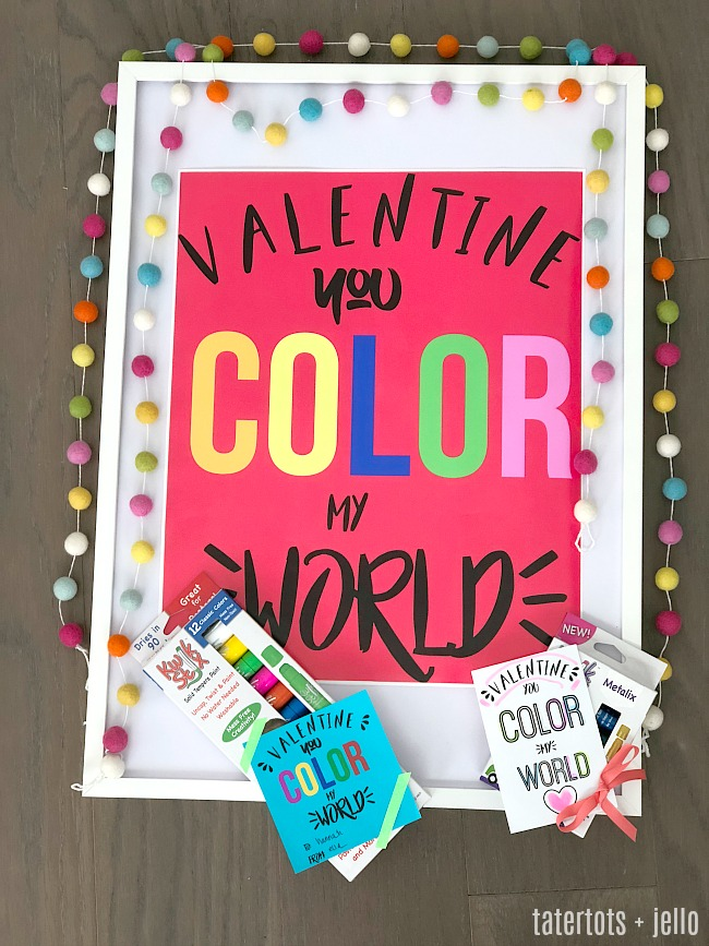 Coloring Valentines printable tags and poster - print off these printable valentine gift ideas to give as a non-candy gift this year !