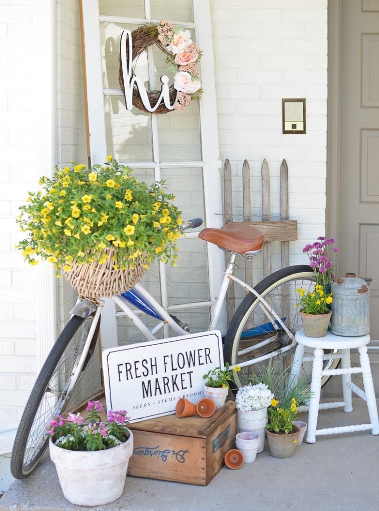 Spring porch with vintage bike