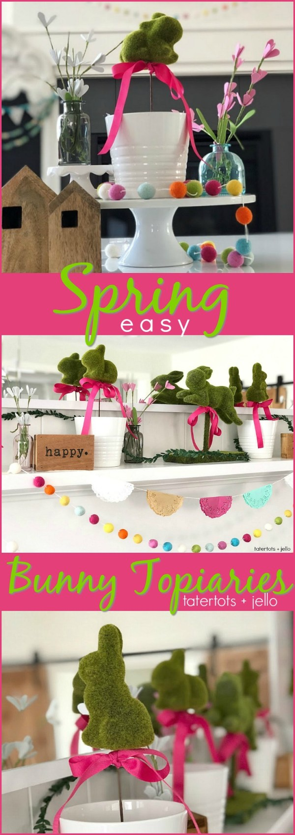 Spring Floral Bunny Topiaries - easy to make a beautiful focal point on a coffee table, mantel or shelf!
