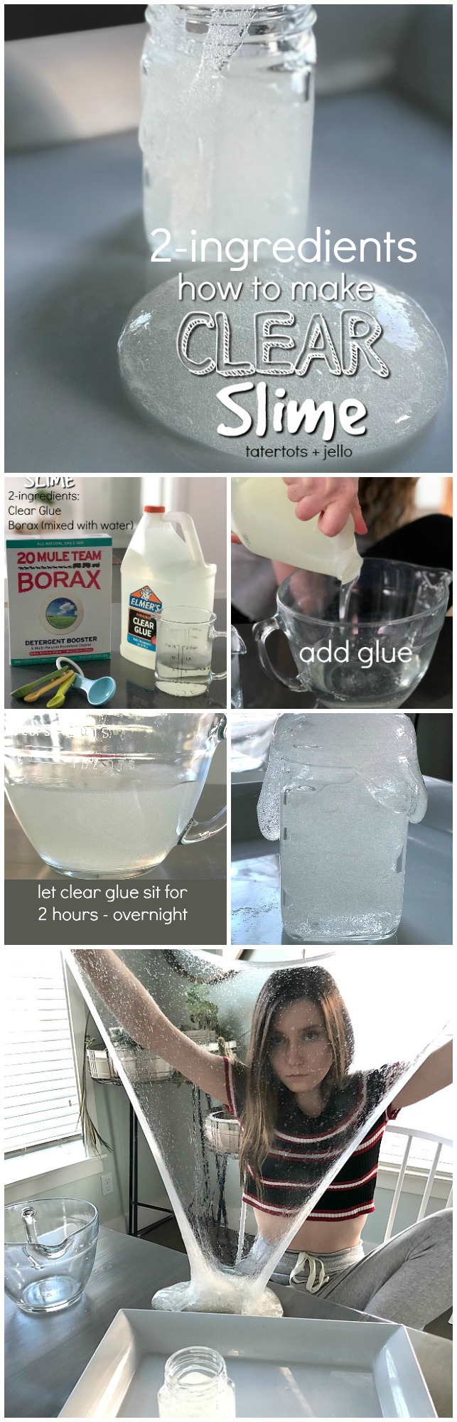 how to make two-ingredient clear slime - so easy and so stretchy! Your kids will love playing with it and adding cool elements.