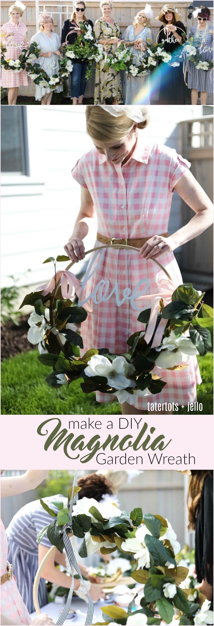 make a diy magnolia garden wreath