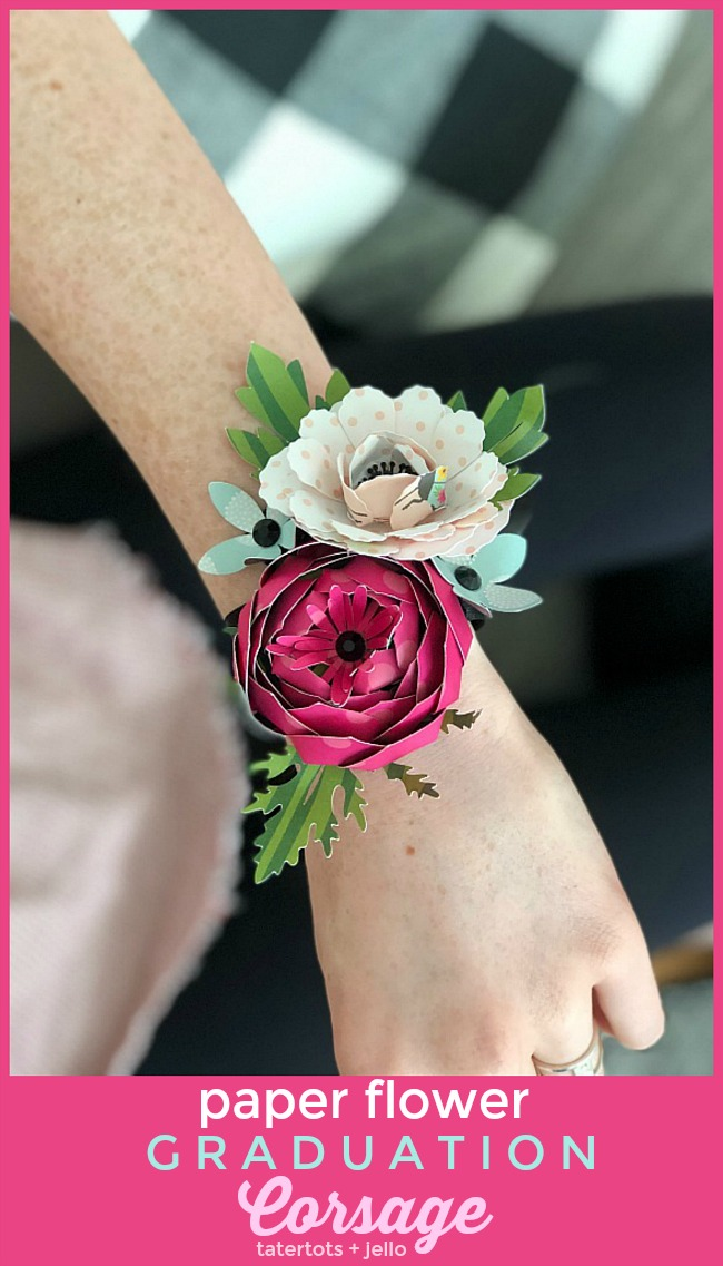 Corsages are so beautiful! The downside is fresh flower corsages wither and die. Instead of giving someone a traditional flower corsage, why not create a paper flower corsage and gift it to someone to commemorate an event like a graduation, Mother's Day or a big birthday?? It is a gift that your recipient will LOVE and they can keep forever!!