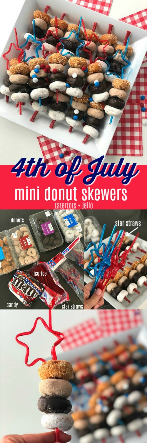 Fourth of July MIni Donut Skewers are a really easy dessert to make for a BBQ, picnic or get-together. Mini Donuts are threaded onto red licorice for a really easy and festive dessert that kids love! You can make this in minutes and kids love them!