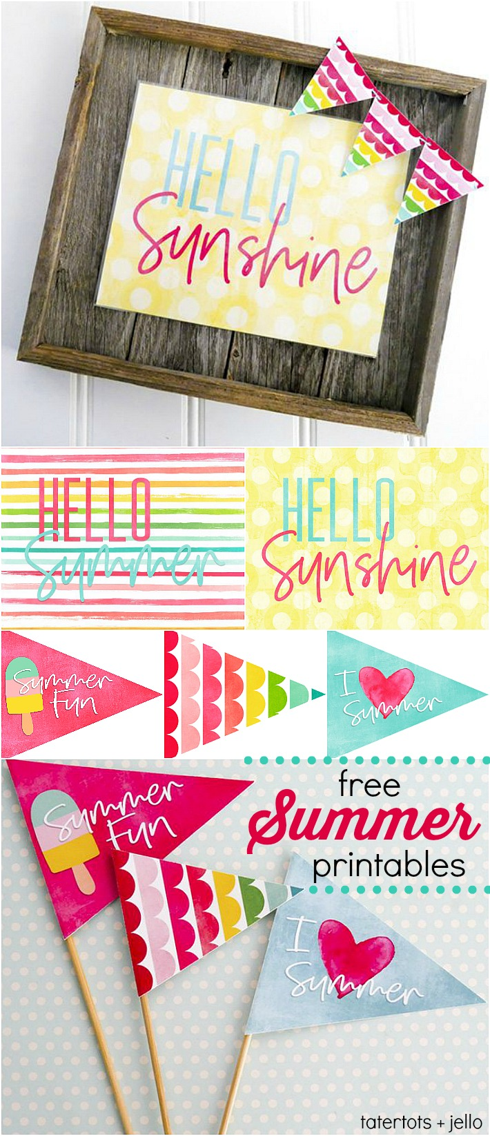 photo relating to Free Printable Banners and Signs identified as Howdy Summertime Free of charge Printable Indication, Pennants and Far more! No cost