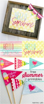 Hello Summer Free Printable Sign, Pennants and More!