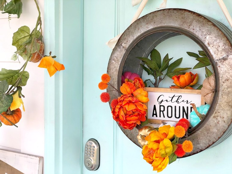 "Celebrate the Fall season with a metal farmhouse ""Gather"" wreath. Hang your wreath on your door or inside and enjoy it through Thanksgiving!"