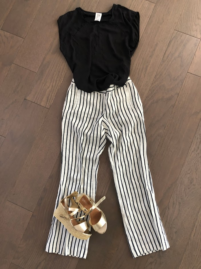 Savers striped linen pants outfit for $10