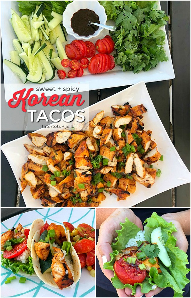Sweet and Spicy Korean Chicken Tacos are a tasty twist on traditional chicken tacos. Chicken is marinated in gochujang sauce, fresh ginger and herbs and then grilled. Juicy spicy chicken combine with fresh lettuce, cucumber, tomatoes and sauce for tacos that are bursting with flavor!