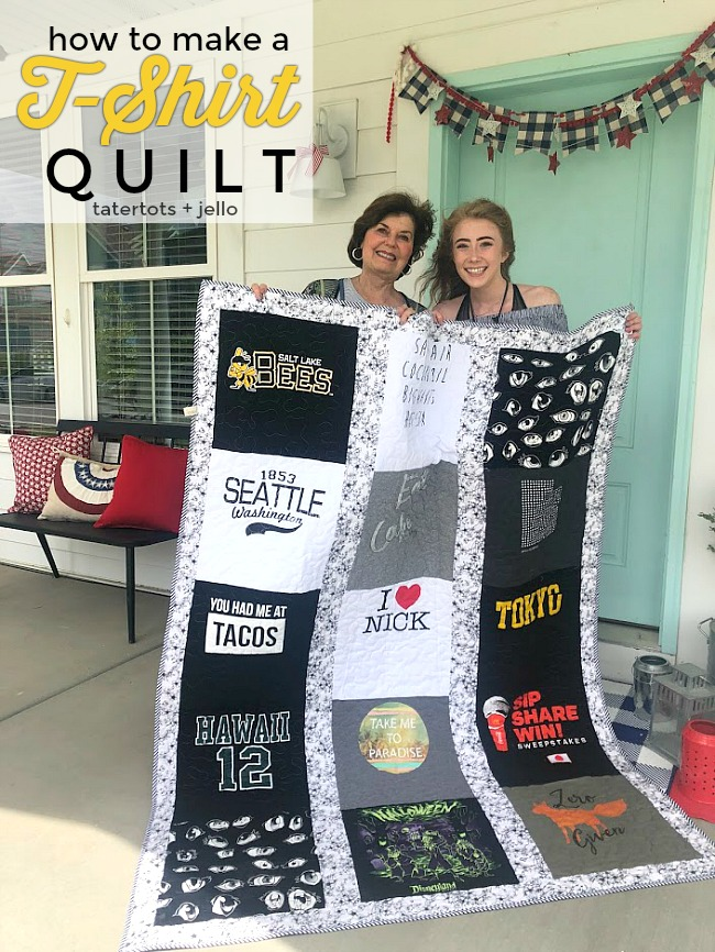 Make a T-Shirt Quilt! Take treasured t-shirts and supplement them with thrifted shirts with meaningful places, logos or sayings for a quilt that will be treasured always. It is a fun craft to make with a teen or tween or give as a gift!
