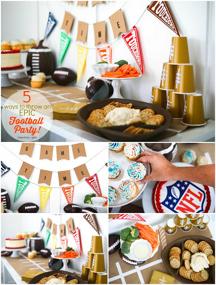 FIVE Ways to Throw an EPIC Football Party! Kick off the NFL season by throwing an EPIC football party. From the seating, to decorations and food, here are FIVE easy ways to throw an EPIC football party!