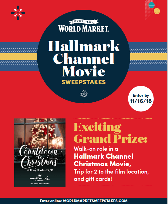 Hallmark Channel holiday movie sweepstakes