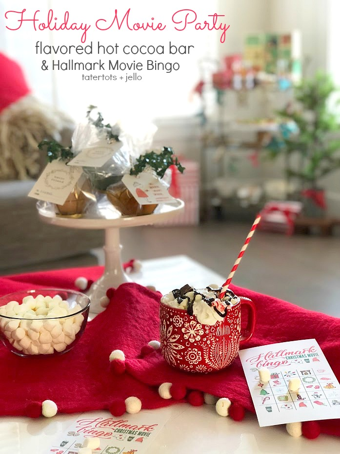 Holiday Hallmark Movie Party, Flavored Hot Cocoa Bar and Hallmark Movie Bingo Game! Invite your friends over for an epic holiday movie party! It's easy with all the fixings from World Market. Create a flavored hot cocoa bar, two different bruschetta appetizers, flavored popcorn and a free printable bingo game.